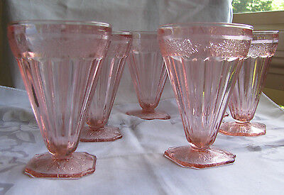"""Jeannette ADAM Pink Footed Tumbler  4 3/4""""  LOT 6 Depression Glass Exc Cond"""