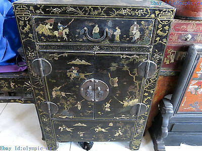 "36"" China old handwork lacquerware wood picture garderobe Cabinet Statue"