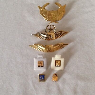 Continental Airlines pilot wings, cap badge, service pins