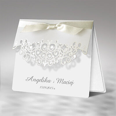 White Personalised Wedding Day Evening Invitations laser Cut Free P &P Envelopes