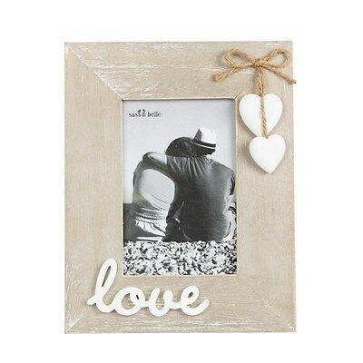 Sass & Belle Love Photo Frame With Wooden Hanging Hearts Wedding Gift