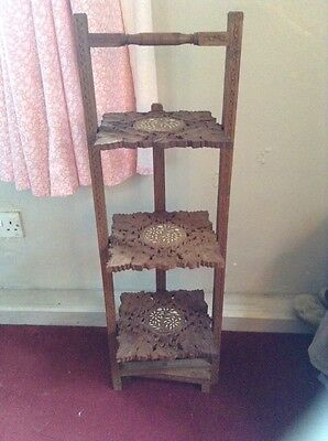 fabulous vintage indian carved wooden floorstanding cake stand