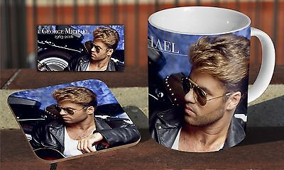George Michael RIP Legend Ceramic Coffee MUG + Wooden Coaster Gift Set