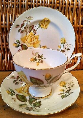 Vintage Royal Standard Sunset China Trio Tea Cup Saucer Plate Yellow Floral Set