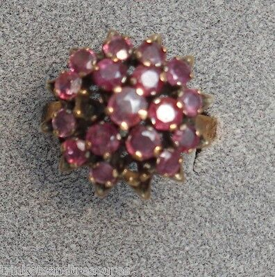 Vintage Cocktail Ring 10K Yellow Gold & 17 Red Rubies As Is Missing Stones Sz 12