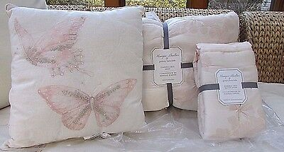 3PC Pottery Barn Kids Monique Lhullier Ethereal Lace Twin Quilt ,Sham & Pillow