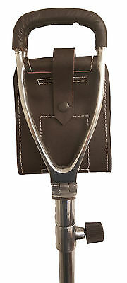 New Adjustable Shooting stick - brown leather seat - light weight - with ferrule
