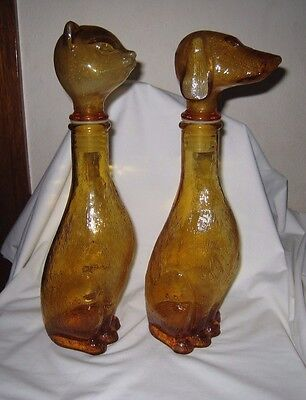 Vintage Decanters Dog + Cat Amber Glass 14.75 Inch Mid Century Bar Ware Mad Men