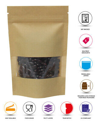 Kraft Stand Up Pouch With Zip Lock Grip Seal Bags Brown Paper With Clear Window