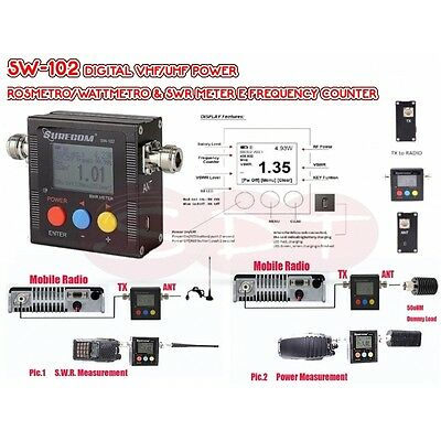 SW-102 DIGITAL VHF/UHF POWER  ROSMETRO/WATTMETRO & SWR METER E FREQUENCY COU