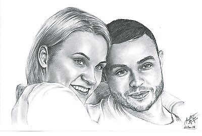 Personlised Valentines Day Gift For Him Her A3 Pencil Drawing Unique Gift