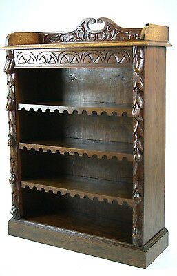 B619 Antique Scottish Carved Oak Open Bookcase with Adjustable Shelves