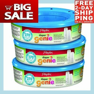 3x Playtex Diaper Genie 270 count  Refill cassettes(Total of 810) FREE 2DAY SHIP