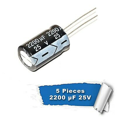 5 pieces 2200uF 25V  105C Radial Electrolytic Capacitor 13*21MM