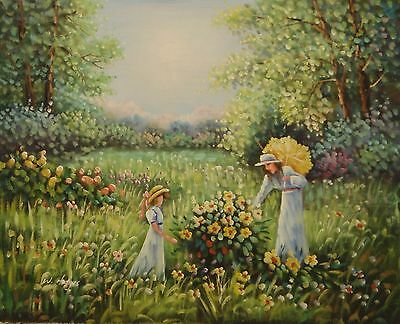 Impressionist picking flowers 20x16 OIL PAINTING on flat canvas signed W HODGES