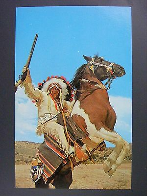 Indian In Headdress Horse & Rifle Vintage Color Chrome Postcard 1950s