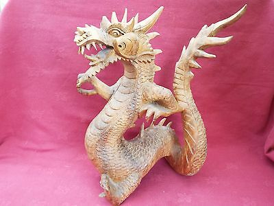 Vintage Chinese Carved Wooden Dragon Sculpture Statue Incense Smoking