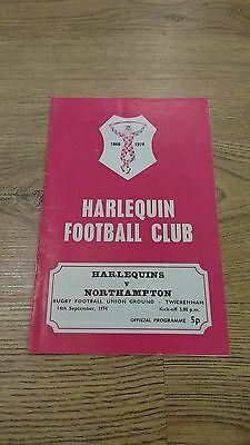 Harlequins v Northampton 1974 Rugby Union Programme