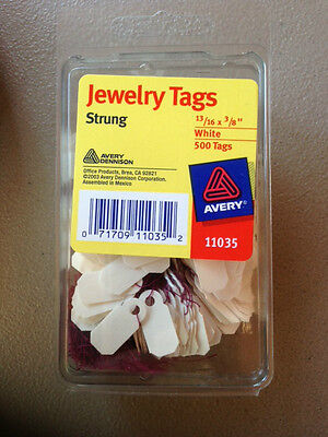 """NEW Avery Jewelry Tags #11035, Strung, White, 13/16"""" x 3/8"""", Pack of 500 SEALED"""