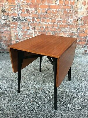 1960's RETRO VINTAGE TEAK EFFECT DROP-LEAF DINING TABLE WITH BLACK LEGS