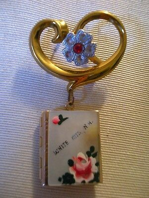 (*_*) Antique White Mountains NH Locket Mother of Pearl Gold Painted Floral Pin