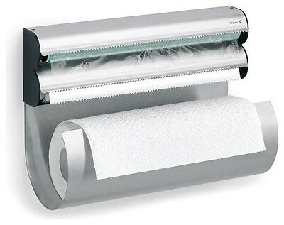 Blomus OBAR Steel Kitchen Paper Towel Roll and Plastic Saran Wrap Holder Wall