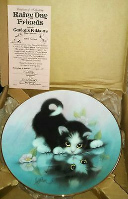 Curious Kittens Rainy Day Friends Porcelain Cat Plate Hamilton Collection NEW