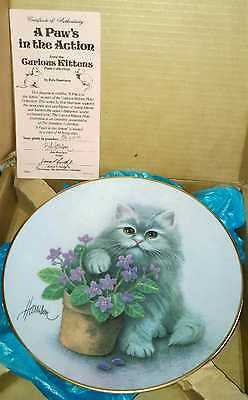 Curious Kittens A Paws in the Action Porcelain Cat Plate Hamilton Collection NEW