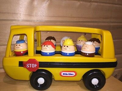 VTG Little Tikes School Bus 8 Chunky Toddle Tots 6 Kids 1 Driver & 1 Teacher