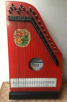Vintage Red JUBEL TONE Zither German Democratic Republic String Harp 1960's