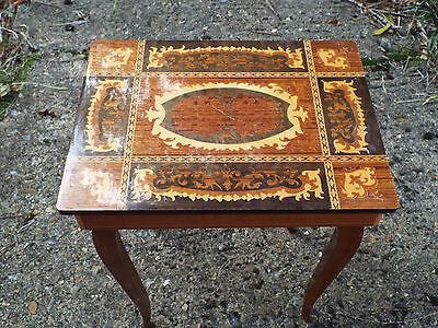 Vintage Italian Inlaid Marquetry Musical Box Table Doctor Zhivago