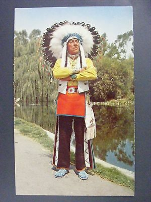 Chief Red Feather Navajo Sioux Indian Knott's Berry Farm Vintage Postcard 1950s
