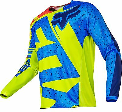 Fox Racing 2017 YOUTH 180 NIRV Motocross Jersey Yellow / Blue Size SMALL
