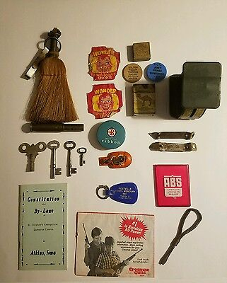 Lot of Junk Drawer Advertising Items Camel Keys Wind Up Skeleton Bottle Openers