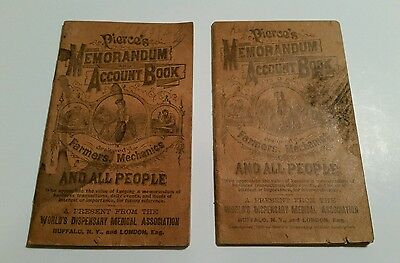 Vintage Lot of 2 Pierce's Memorandum Account Book Farmers Buffalo New York NY