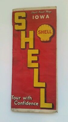 Vintage Shell Oil Road Map Iowa IA 1937 Road Map