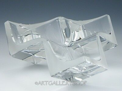 Art Glass DAUM FRANCE MODERN BOWL CENTERPIECE or SCULPTURE GEOMETRIC TRIPLE CUBE