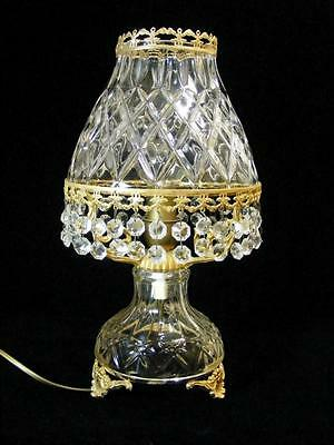 Stunning Antique Vintage French Crystal Boudoir Lamp Chic