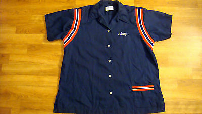 Vintage Retro Hilton Size 40 Womens Embroidered Bowling Shirt Blue Red White