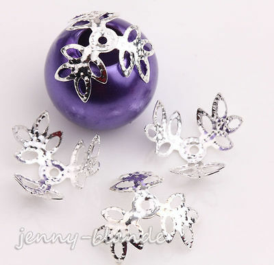 100X Silver Plated Hollow Flower Loose Spacer Bead Caps DIY Craft Jewelry Making
