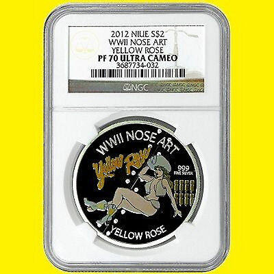 2012 Niue Nose Art Wwii Yellow Rose 1 Oz Silver Ngc Pf 70 Ultra Cam,not Disney