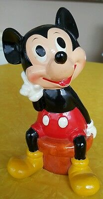 Vintage Disney Mickey Mouse Ceramic / Plaster? Bank Ll