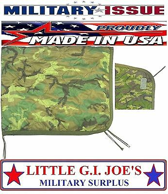 USED Military Issue Army & USMC Marine Woodland Camouflage Poncho Liner GRADE D