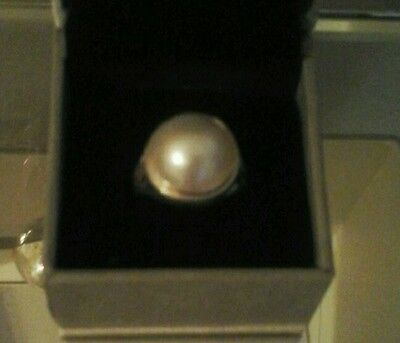 Large Contemporary Mabe Pearl Sterling Silver Ring  Size 7