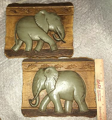 Home Interiors PAIR OF ELEPHANT WALL PLAQUES HANGINGS Decor