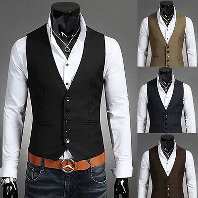 Fashion Mens Suit Vest Slim Dress Vests Fitted Casual Waistcoat Business Jacket