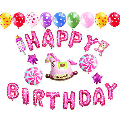"""16'' """"HAPPY BIRTHDAY"""" Letters Foil Balloons For Birthday Party Decoration 13Pcs"""