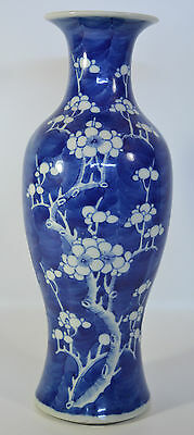 A large early 19th C Chinese blue and white porcelain prunus vase Kangxi mark