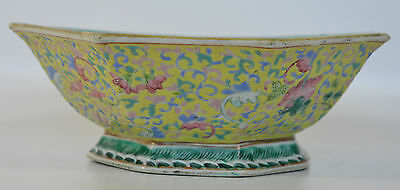 A 19th C Chinese yellow enamel porcelain octagonal bowl Guangxu. Qianlong mark