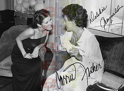 REPRINT RP 8x10 Signed Autographed Photo: Debbie Reynolds and Carrie Fisher DUAL